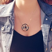 Tortoise Shell Monogram Necklace