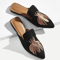 Bee Embroidered Flat Mules