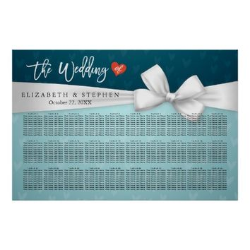 30+ Tables Wedding Seating Chart Blue White Ribbon Poster