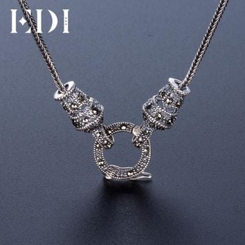 EDI Women/Men Retro Boho Vintage 25 Sterling- Thai Silver-Jewelry Long Statement Necklace Chain Punk Bijoux Animaux Z023