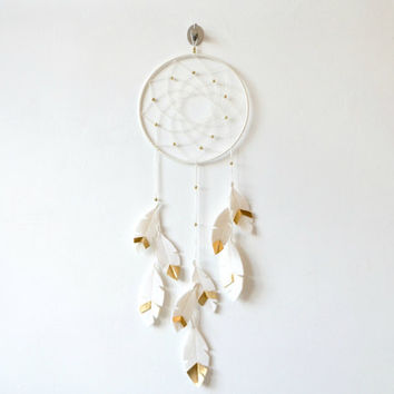Dream catcher wall hanging, White and Gold dreamcatcher, Gender Neutral Nursery Idea, nursery wall decor, Gold Nursery Idea