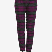 Casual Check Trouser Pant - Plum