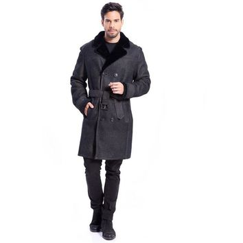 Mens Long Leather Shearling Black Lapel Jacket Classic Double-Breasted Belt Design