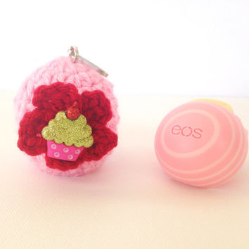 EOS Lip Balm Cozy/Holder -Pink with Red Flower and Cupcake Button - with Split Ring/Clasp for Clip-On