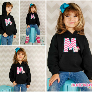 Custom PERSONALIZED Girls Hooded Hoodie Sweatshirt - MOD MONKEY Chevron Initial - Any Color