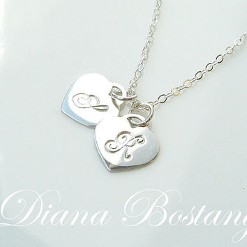 SALE - 10% off Personalized Double Heart Necklace, Mothers, Couples, Sterling Silver, Gold, or Rose Gold, Twins, Mothers Day