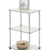 Modern 3 Shelf End Table Nightstand Display Side Stand Glass Metal Furniture