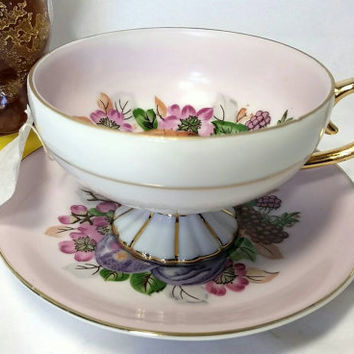 Vintage Unmarked Fruit Pattern Teacup and Saucer/Floral Gold and Pink Footed Cup and Saucer/Tea Time Pedestal Cup and Saucer