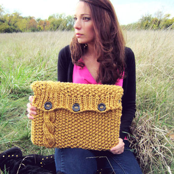Knitted Laptop Sleeve Computer Cozy Electronic Case Mustard Yellow Cable Knit With Buttons Gadget Accessories