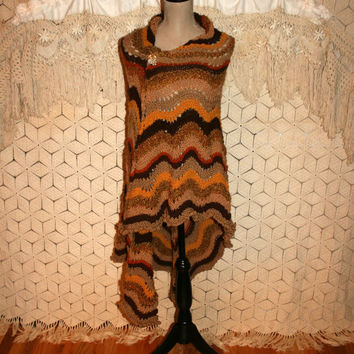 Brown Hand Knit Shawl Knit Prayer Shawl Large Triangle Shawl Hippie Shawl Southwestern Native American Earth Mother Handmade Gift Idea