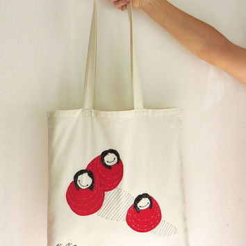 Whimsical illustration Tote handbag embroidered ' Bollekes', Grocery bag, wearable art, beautiful library bag, beach bag, fabric shopper bag