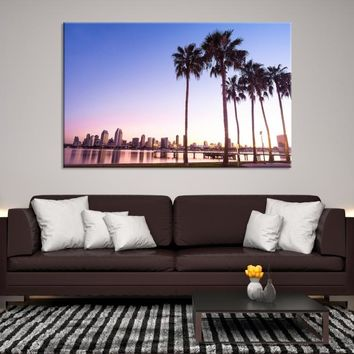 90117 - San Diego Background with Palm Trees Wall Art Canvas Print