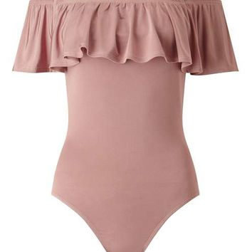 Nude Bardot Ruffle Body - Tops - Apparel
