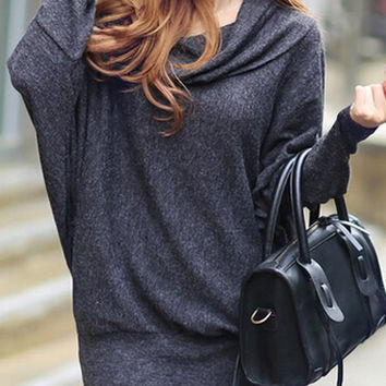 Grey Long Sleeve Summer Dress