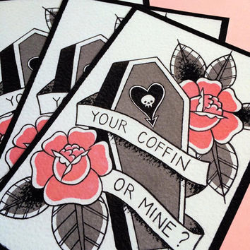 Your Coffin or Mine Tattoo Flash Print by Michelle Coffee