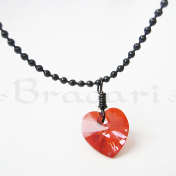 Swarovski Crystal Pendant - Red Magma Authentic Swarovski Heart Wire  Wrapped and Black Necklace d9290b2cf