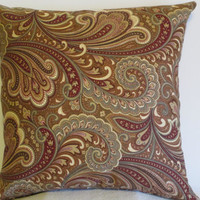 "Pillow Covers 18"" Set of Two - Brown, Burgundy, and Pink Paisley Pattern"