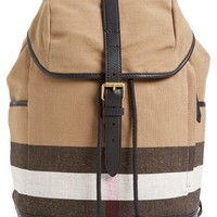 Men's Burberry 'Drifton' Check Canvas Backpack - Black
