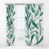 greeen water color leaves Window Curtains by franciscomffonseca