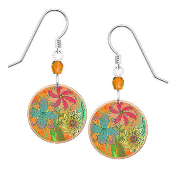 Lemon Tree Abstract Flower Earrings with Sterling Silver Ear Wires