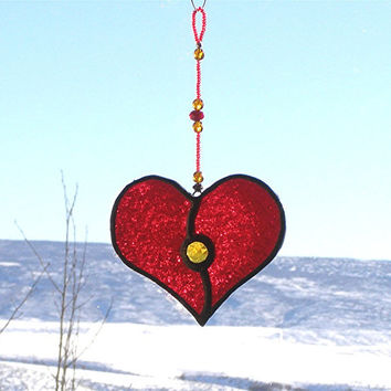 Ruby Red Stained Glass Heart Suncatcher with Gold Amber Gem and Beaded Strand