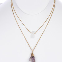 NECKLACE / NATURAL STONE CHARM / DOUBLE LAYER / METAL SETTING / LINK / CHAIN / 16 INCH LONG / 3 1/4 INCH DROP / NICKEL AND LEAD COMPLIANT