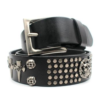 Punk Rivet Belts Skull Pin Buckles High Quality Leather Belts Men and Women Gothic