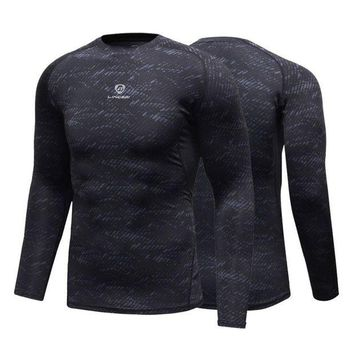 DCCKFS2 Fitness Compression Shirt Men Gym Sports Bodybuilding Long Sleeve 3D T Shirt Tops Shirts