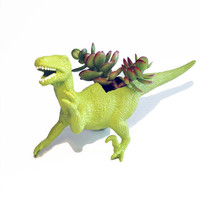 Up-cycled Lime Green Velociraptor Dinosaur Planter