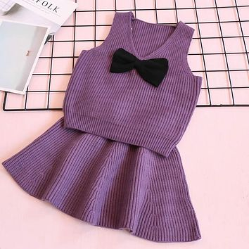 Baby Girls Clothes Autumn Baby Clothing Sets V Neck Sweater Bow Shirt+ Knitted Dress for Winter Clothes