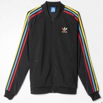 ADIDAS Fashion hot rainbow stripe  jacket coat