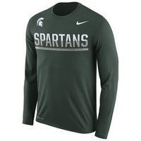 NCAA Nike Michigan State Spartans Men's Green 2016 Staff Sideline Legend Dri-FIT Long Sleeve T-Shirt