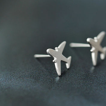 Hand crafted silver plane cute lady earring