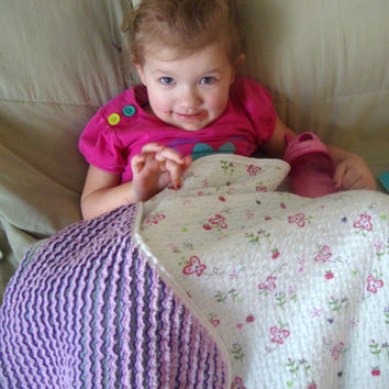 Handmade Chenille Flannel Blanket / Quilt - Butterflies and Flowers