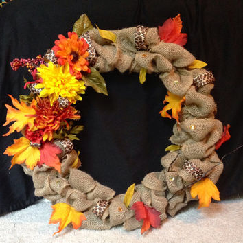 Fall Themed Burlap Wreath with Leopard Ribbon