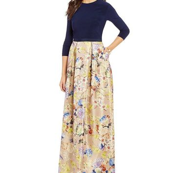 JS Collections - 865926 Round Neck Quarter Sleeve Floral Jacquard Gown