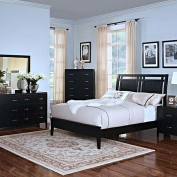 New Classic 144-315 5 pc selena collection black finish wood headboard queen bedroom set