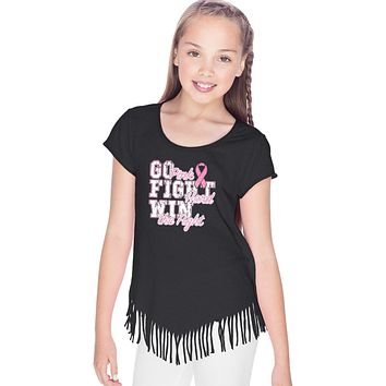 Girls Breast Cancer T-shirt Go Fight Win Fringe Tee