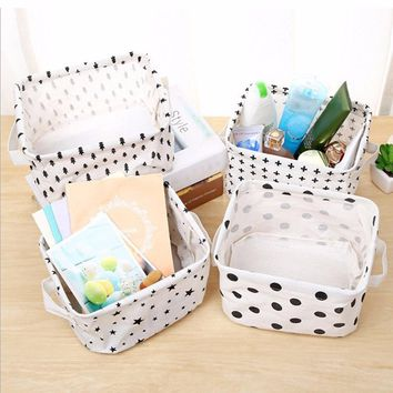 Simplicity White&Black Linen Desk Storage Basket Holder Jewelry Stationery Office Organizer Case Organizer For Cosmetics #226257