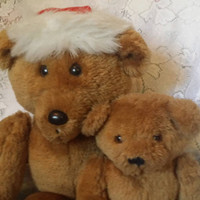 Set of 2 Vintage Hallmark Bears 1984, Santa Hat Beau & Bo-Bo Hallmark Collectible Bears, Plush Hallmark Bears, Hallmark Light Tan Bears