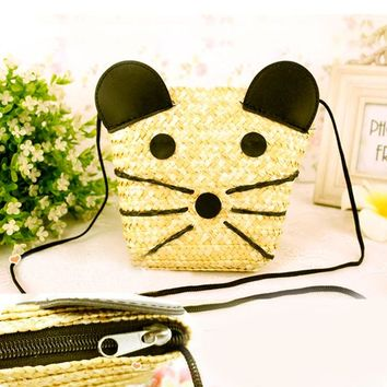 Little Mouse Straw Bag