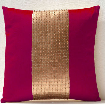 Throw Pillows - Fuchsia gold color block in silk sequin bead detail cushion - sequin bead pillow - 16X16 Fuchsia pillow - gift pillow