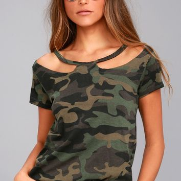 RD Style Camp Style Green Camo Print Tee