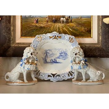 Antique Pair English Staffordshire Poodle Dog Figurines w/ Blue Bow & Basket of Puppies