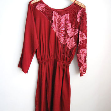 Garden Paradise - Vintage 80s Maroon Red Cutout Mesh Butterfky Dress