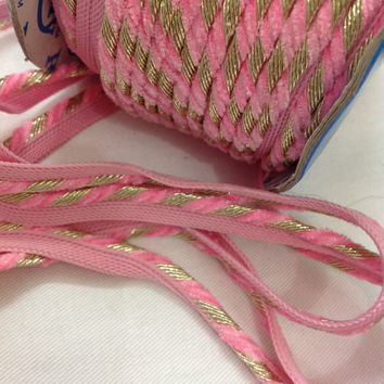 Jacquard Piping Ribbon / Trim / Lace - Diagonal Pattern - Baby Pink and Silver Ribbon for Dresses, Sari  and more