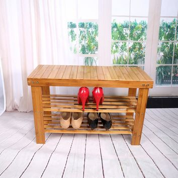 Shoe Lasts 2 Tier Shoe Shelf Natural Bamboo Shoe Rack Bench Storage Organiser Holder 70 x 28 x 45cm Shoe Holder