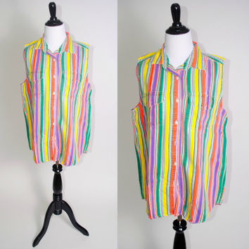 Vintage 1990s Multi colored striped Cotton DENIM Button Down sleeveless grunge preppy long shirt blouse pockets
