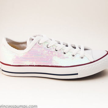 Sequin Crystal White Iris Canvas Converse Canvas Low Top Sneakers Shoes