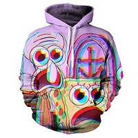 Spongebob Squarepants & Squidward Tentacles Trippy Hoodie